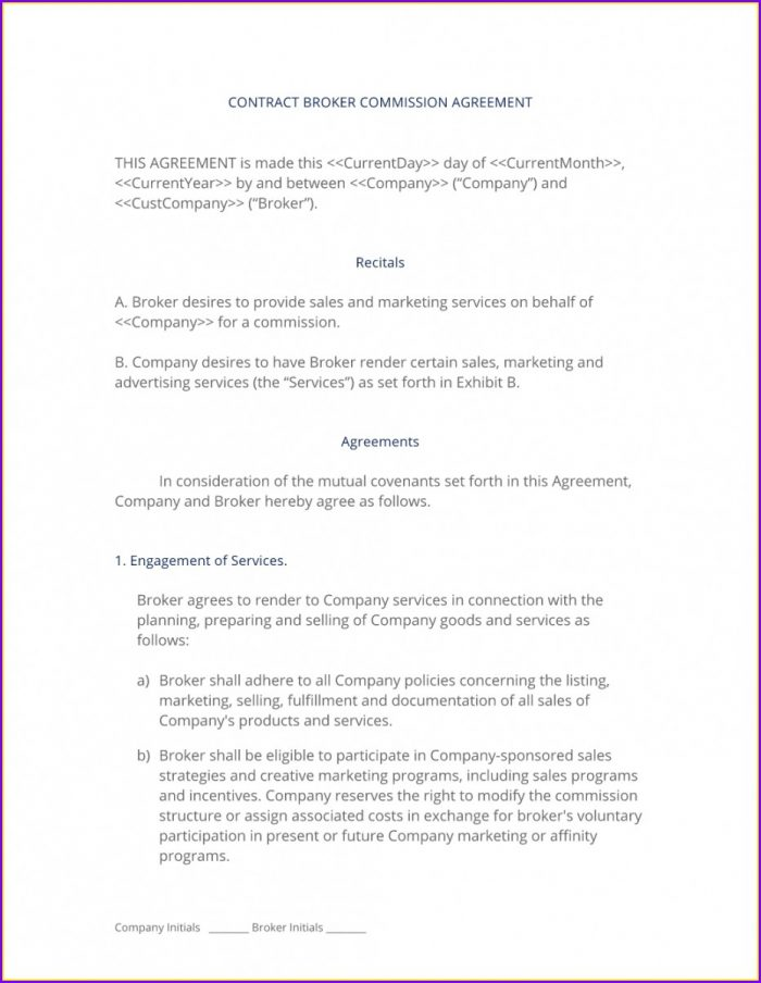 Broker Commission Agreement Template