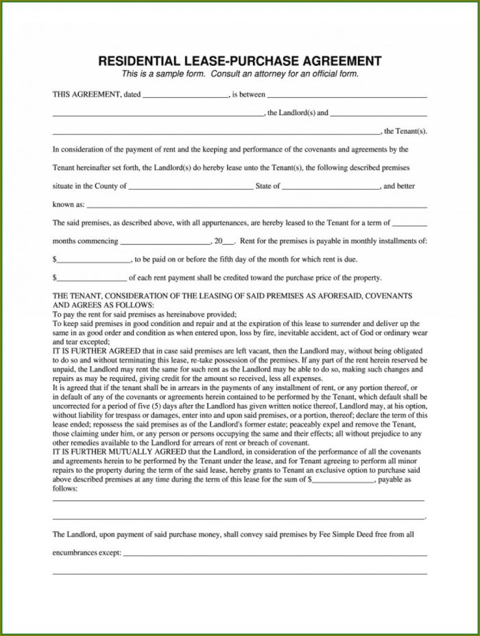 Car Lease To Own Agreement Template