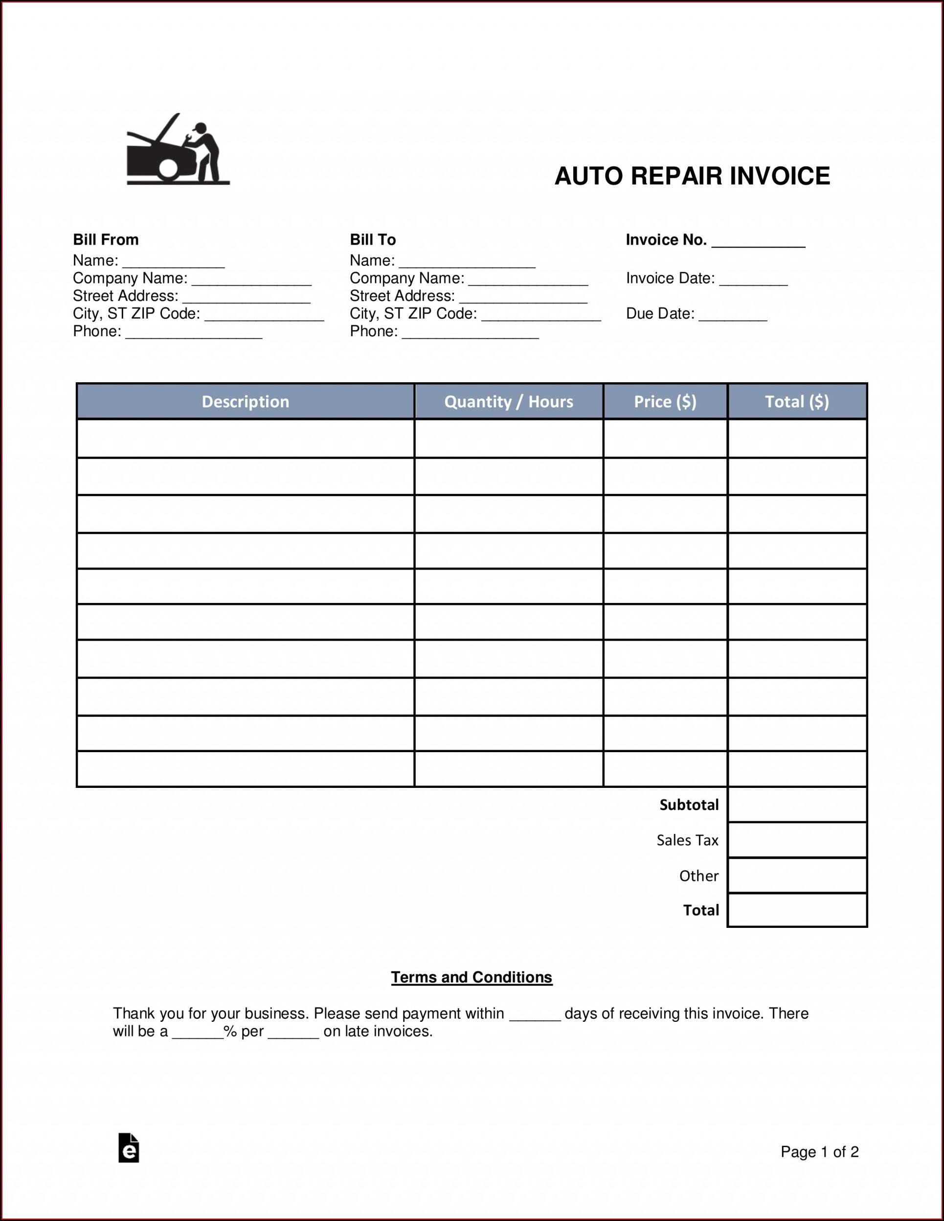 Car Repair Estimate Template