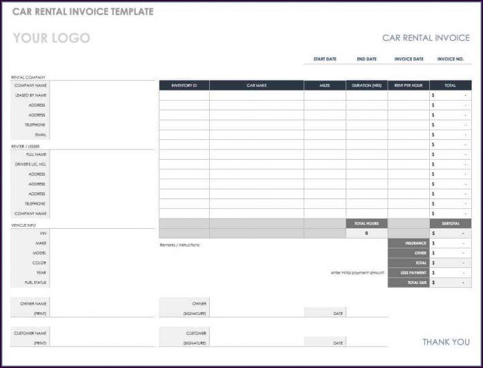 Car Repair Invoice Template