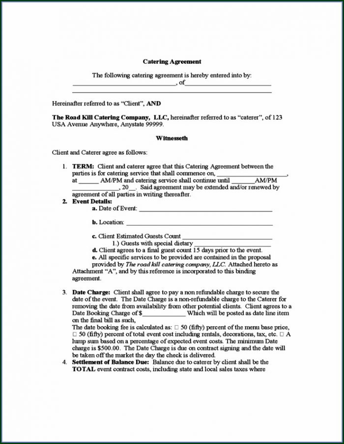 Catering Agreement Printable Caterer Contract Template