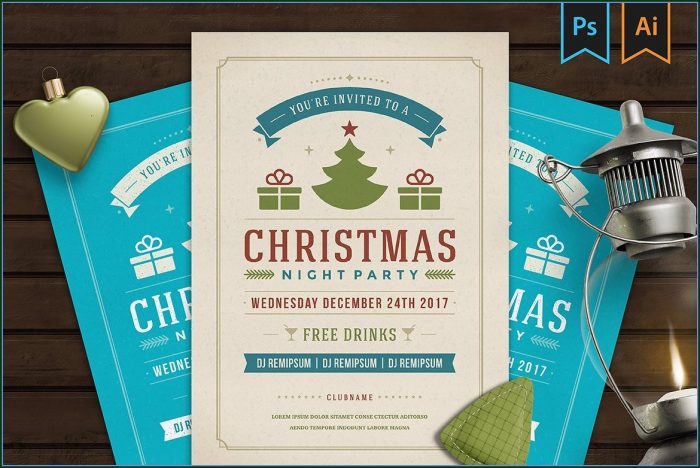 Christmas Invitation Flyer Template Free