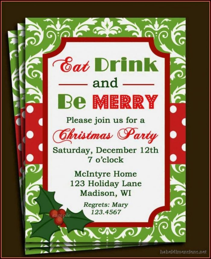 Christmas Party Free Holiday Party Invitation Templates Word