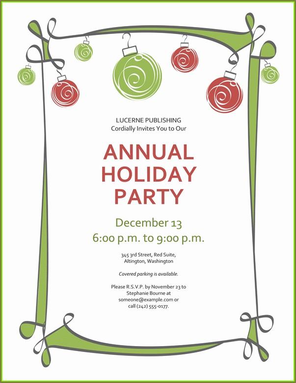 Christmas Party Invitation Template Printable