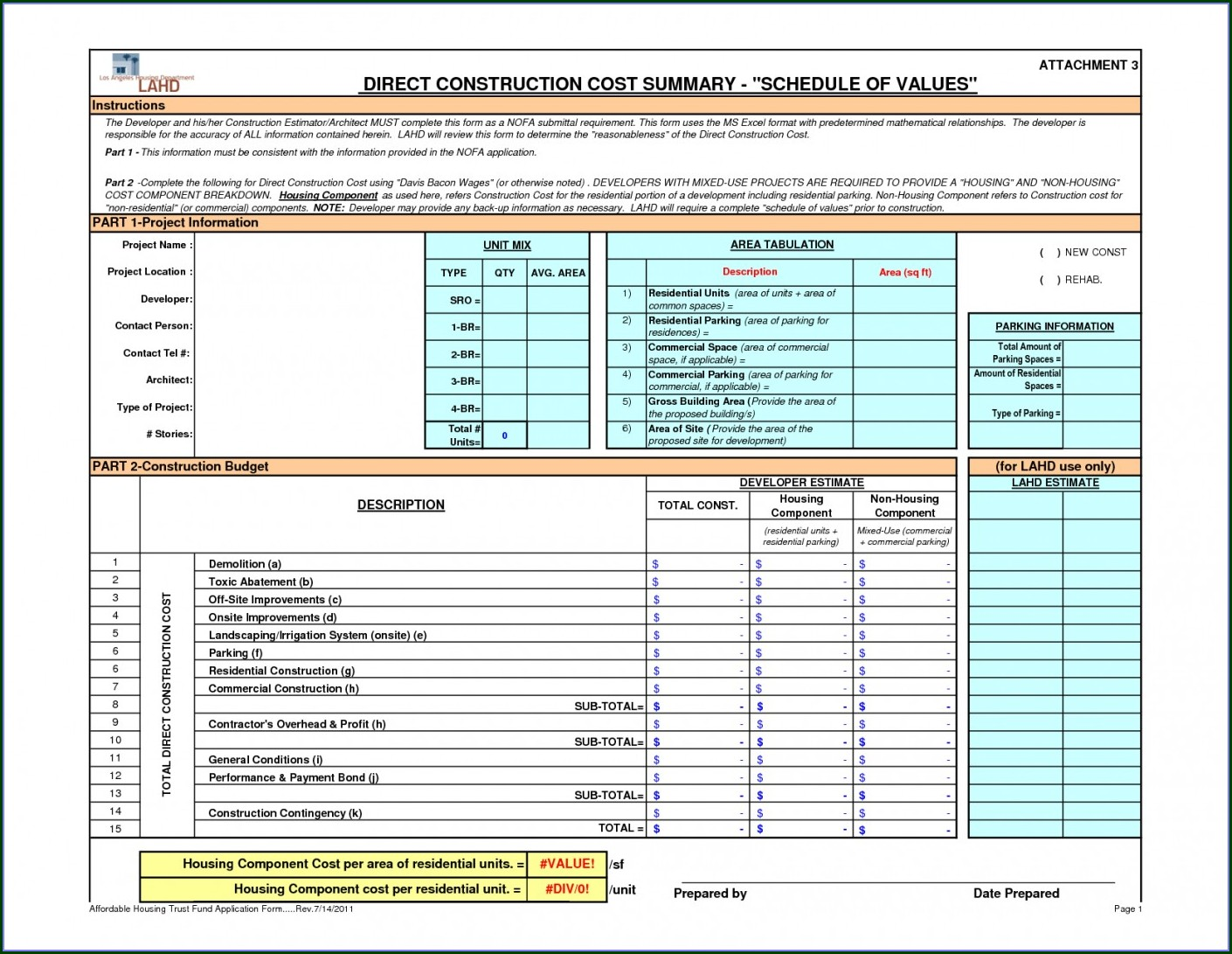 Class D Construction Cost Estimate Template