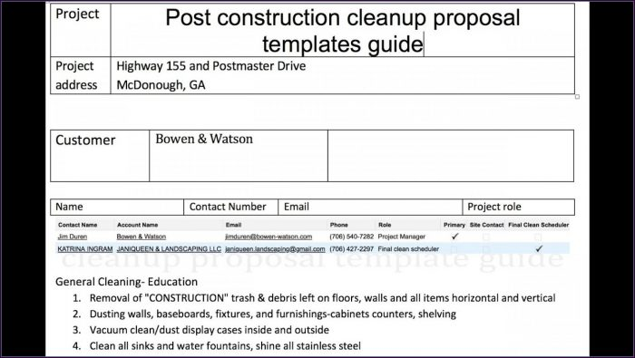 Commercial Cleaning Free Cleaning Proposal Template Word
