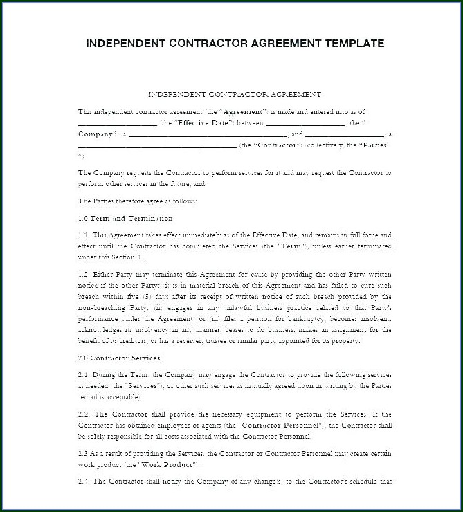 Contractor Terms And Conditions Template