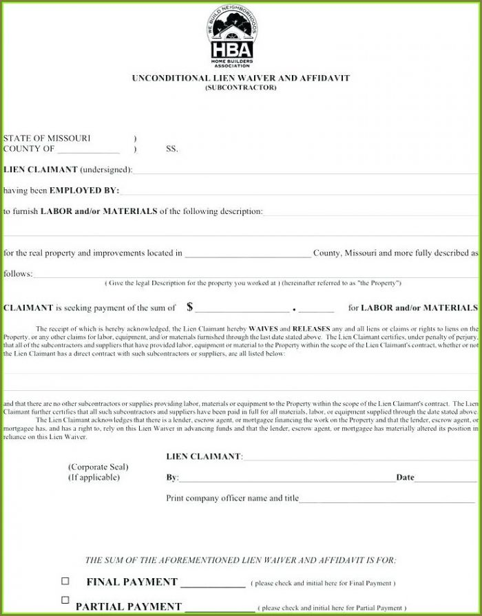Contractor Unconditional Lien Waiver Template