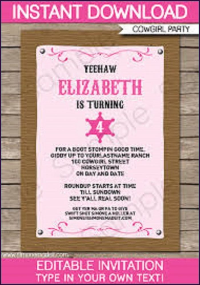 Cowgirl Birthday Invitations Templates Free