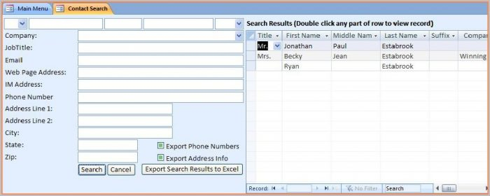 Customer Database Excel Template