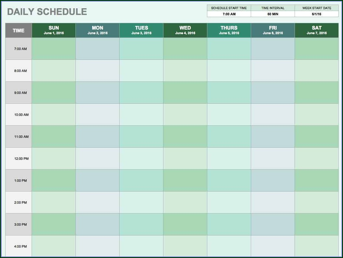 Daily Excel Appointment Schedule Template