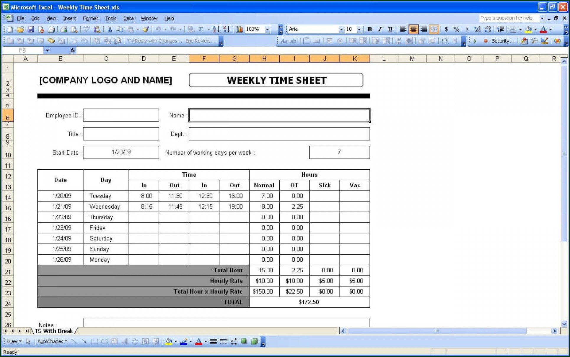 Daily Timesheet Template Excel Free Download
