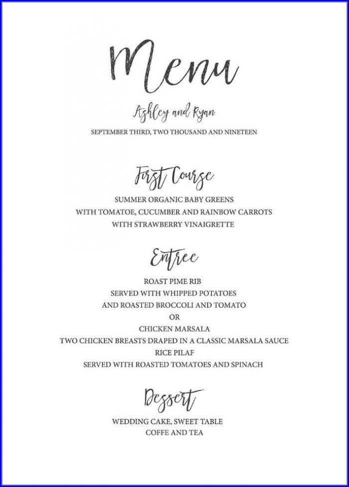 Diy Wedding Menu Template Free