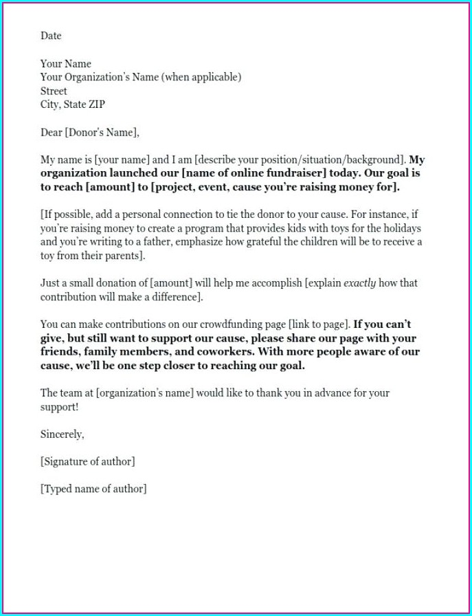 Donation Letter Template For Fundraiser