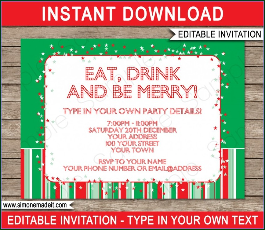 Downloadable Editable Free Christmas Party Invitation Templates