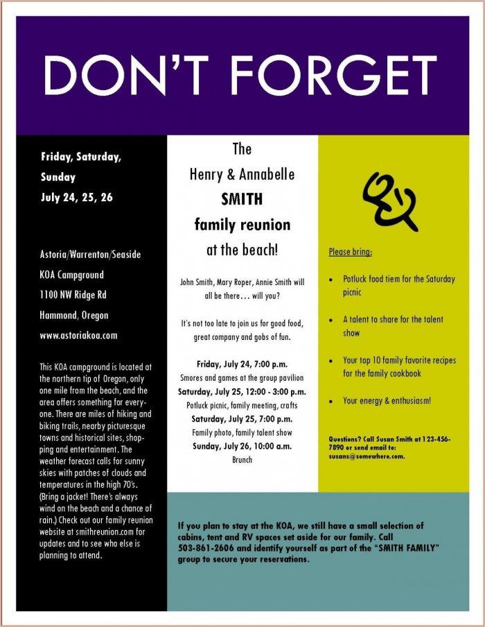 Downloadable Family Reunion Invitation Templates Free