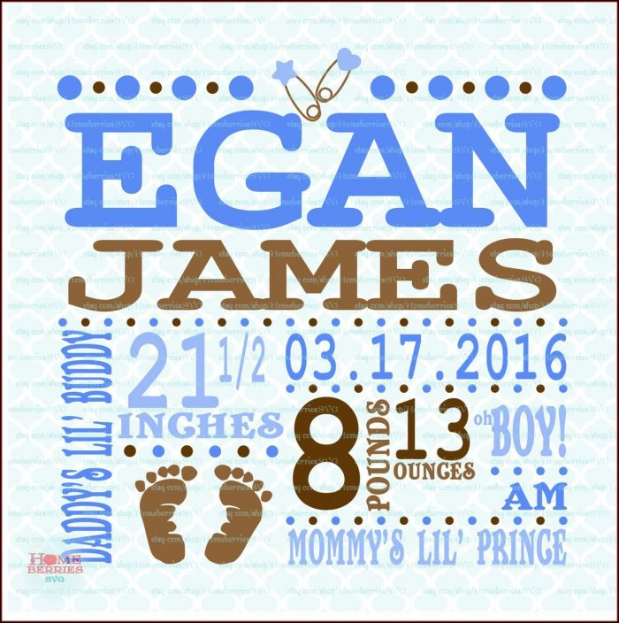 Downloadable Free Birth Announcement Template Svg