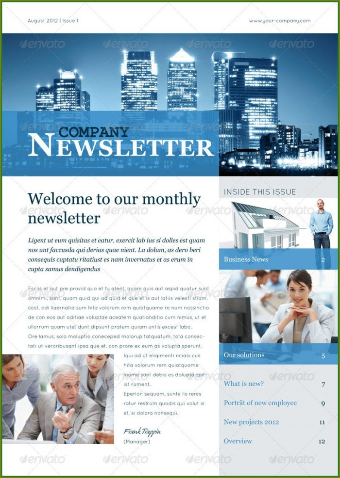 Downloadable Free Editable Business Newsletter Templates