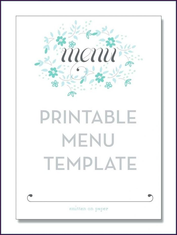 Downloadable Free Printable Wedding Menu Template