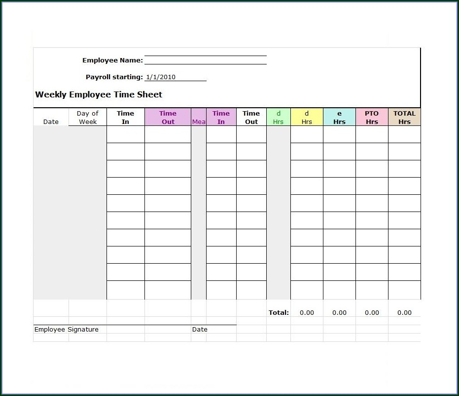 Downloadable Free Printable Weekly Timesheet Template
