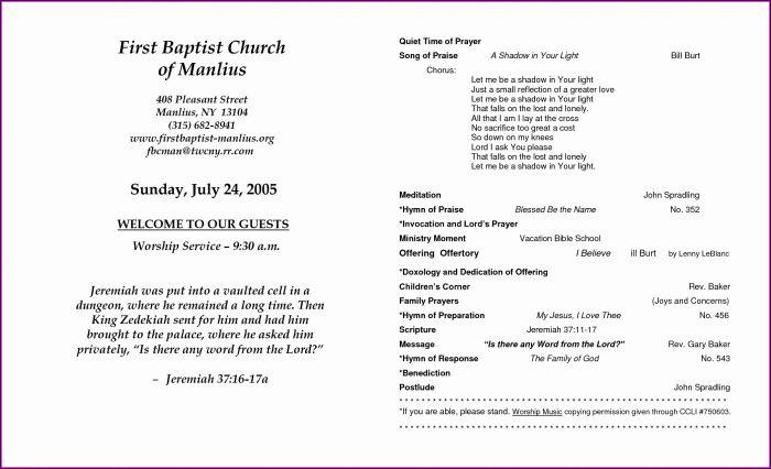 Downloadable Funeral Program Template
