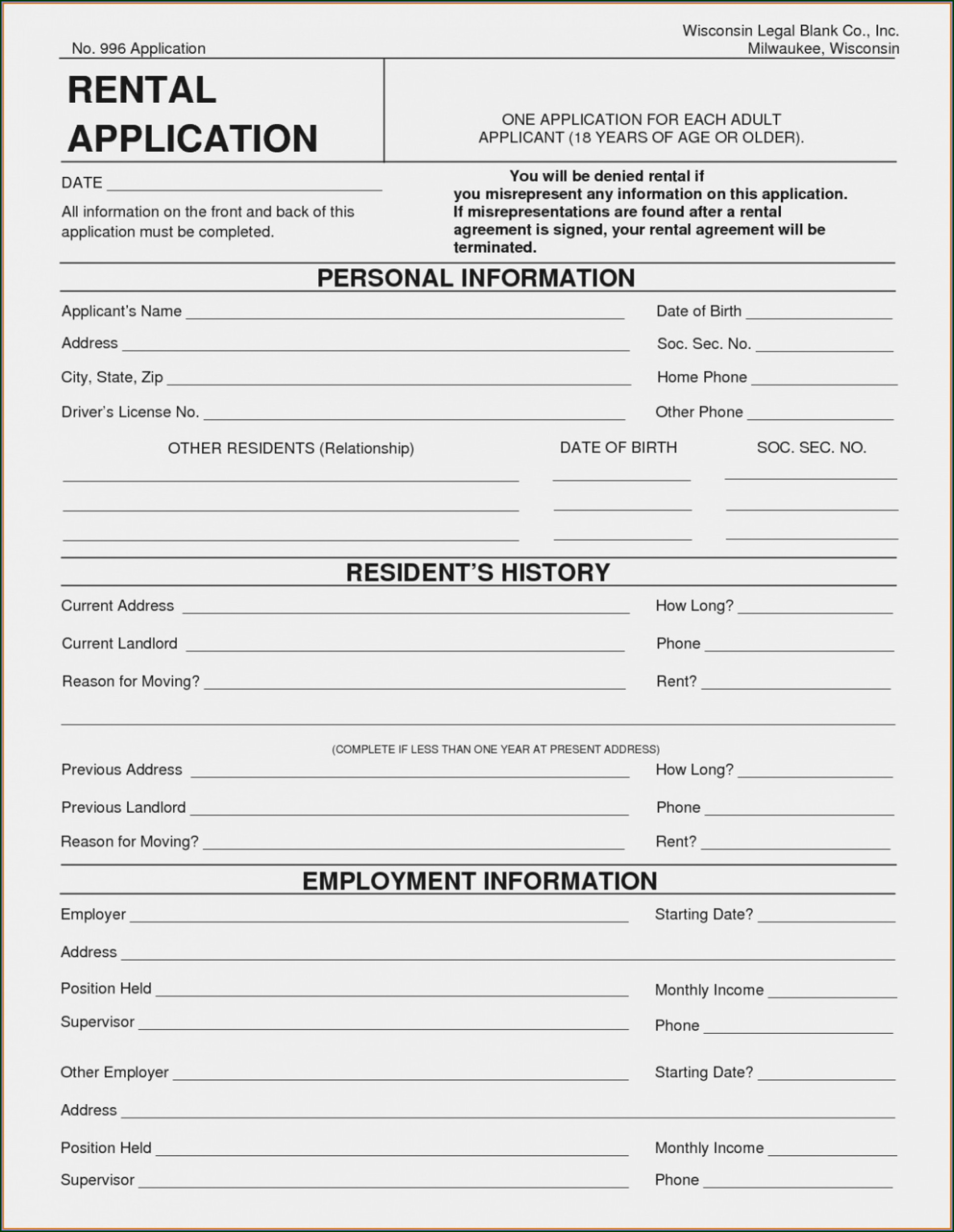 Downloadable Renters Application Template