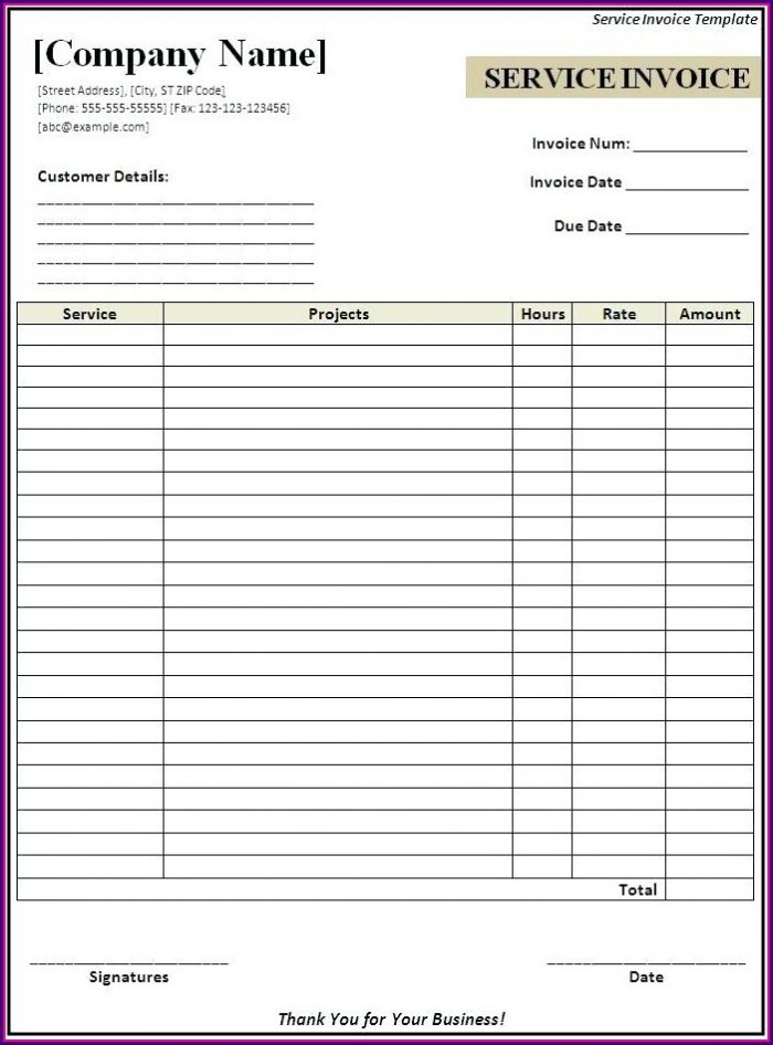 Downloadable Word Document Blank Invoice Template Word