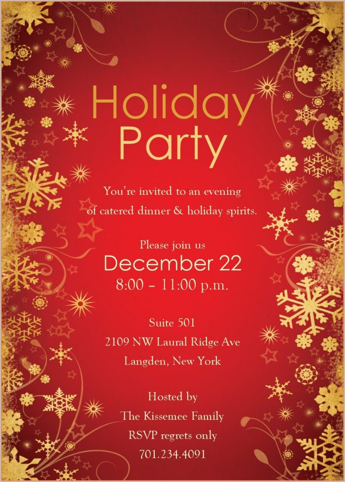 Downloadable Work Christmas Party Invitation Template Free