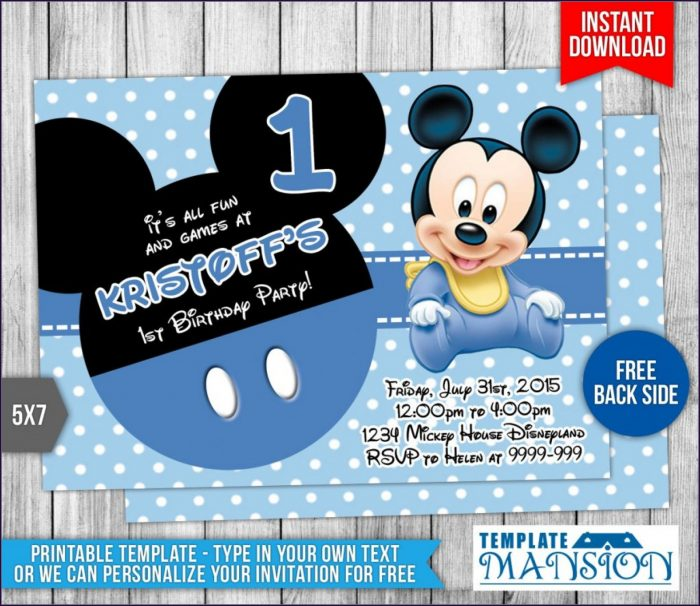 Editable Baby Mickey Mouse Invitation Template