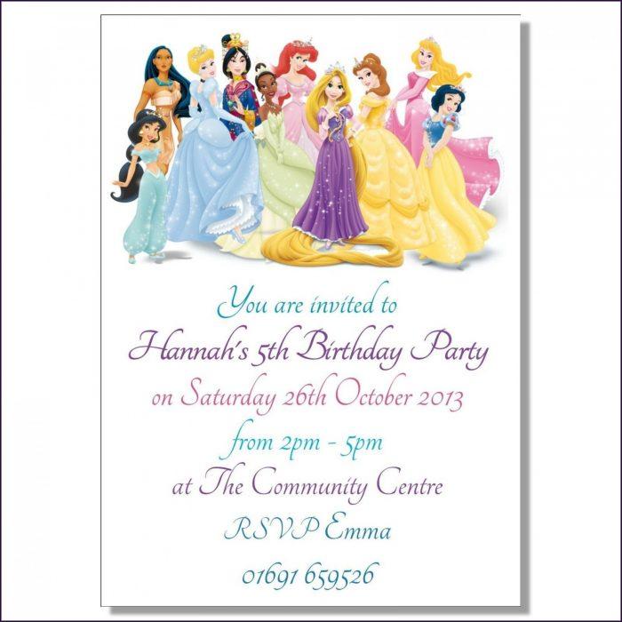 Editable Disney Princess Birthday Invitation Templates Free