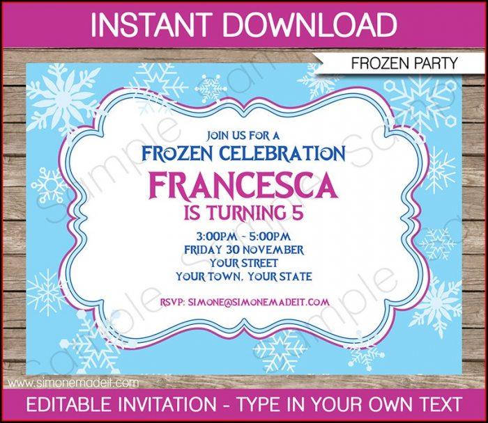 Editable Free Frozen Invitation Template
