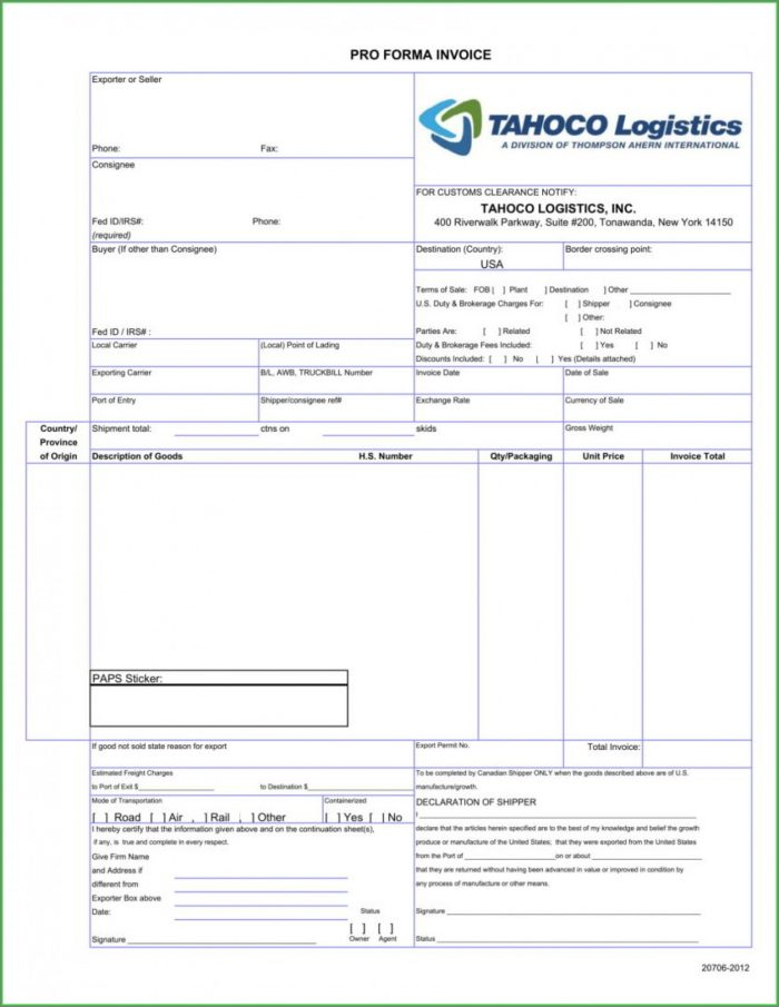 Editable Simple Proforma Invoice Template