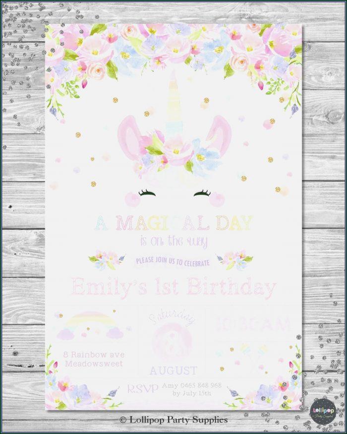 Editable Unicorn Birthday Invitations Templates Free