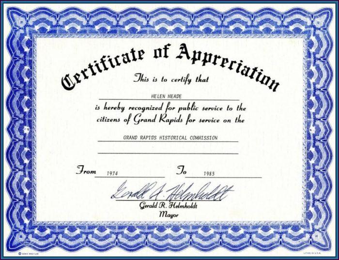 Employee Certificate Of Appreciation Template Word