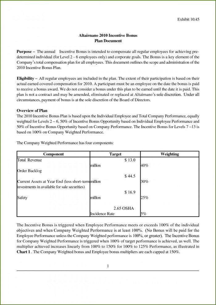 Employee Incentive Plan Template
