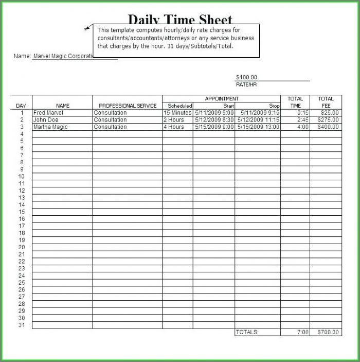 Excel Flexi Timesheet Template
