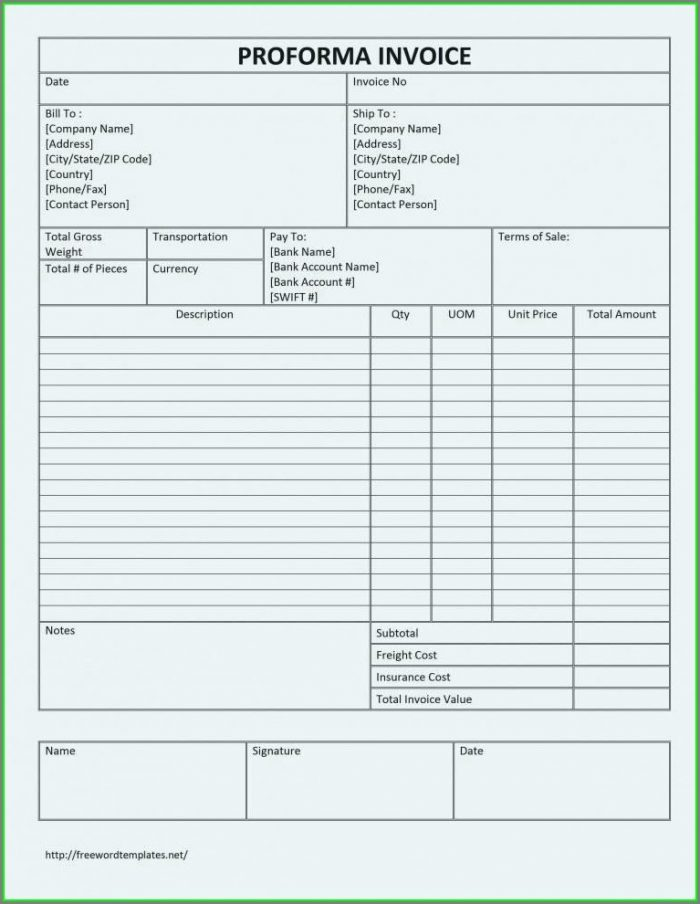 Excel Format Simple Proforma Invoice Template