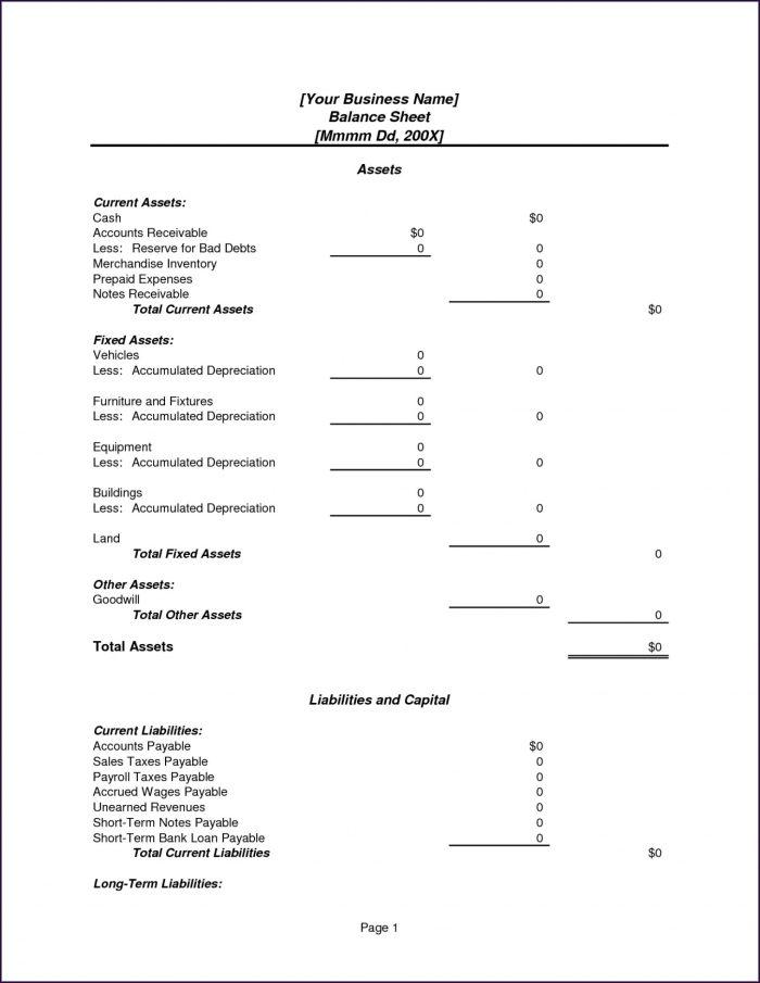 Excel Restaurant Balance Sheet Template