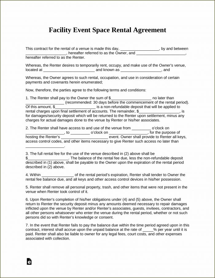 Facility Rental Contract Template