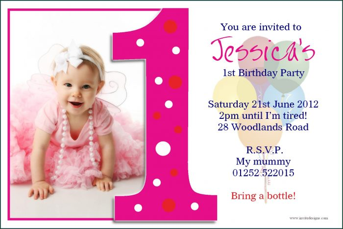 First Birthday Templates Invitations Free