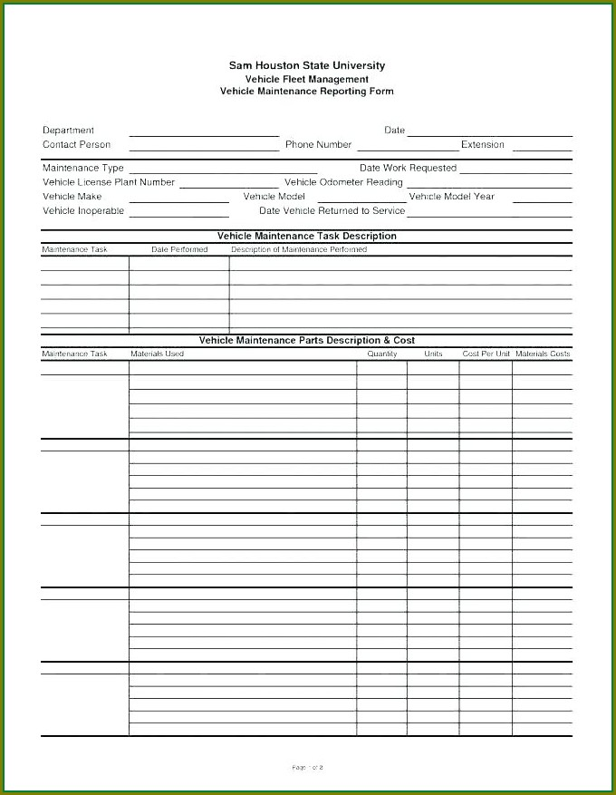 Forklift Truck Inspection Checklist Template