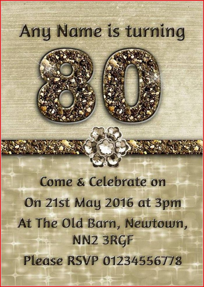 Free 80th Birthday Party Invitation Templates