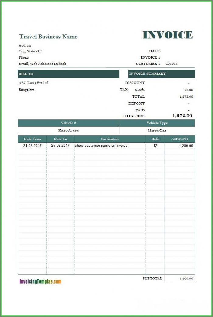 Free Car Rental Invoice Template Excel