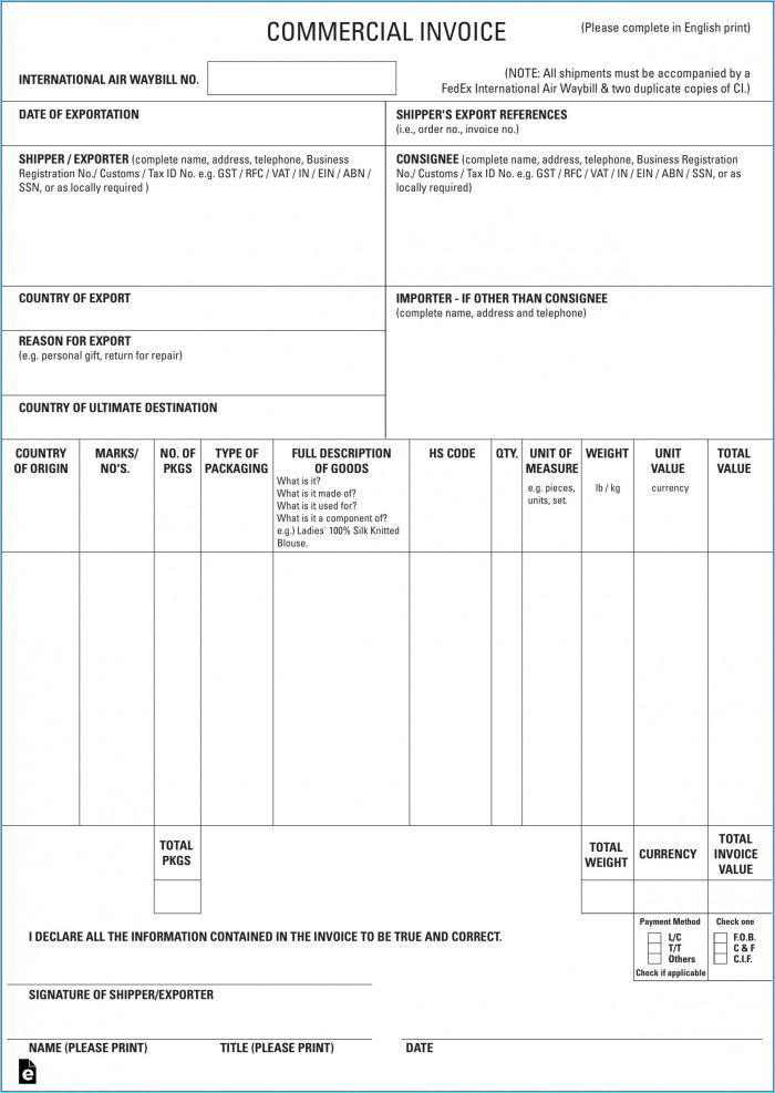 Free Commercial Invoice Template