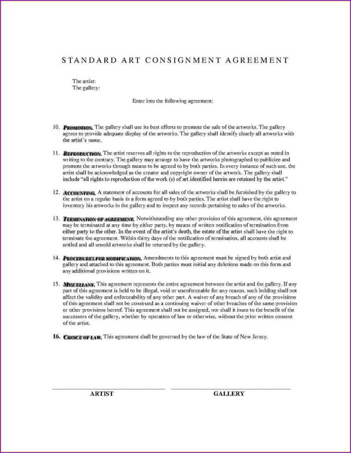 Free Consignment Agreement Template