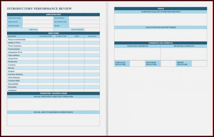 Free Employee Self Evaluation Form Template Word