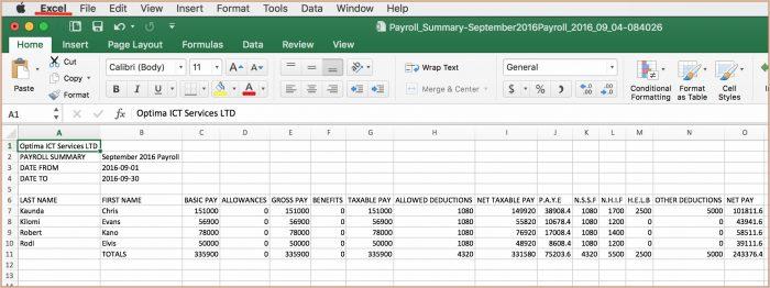 Free Excel Payroll Template Kenya