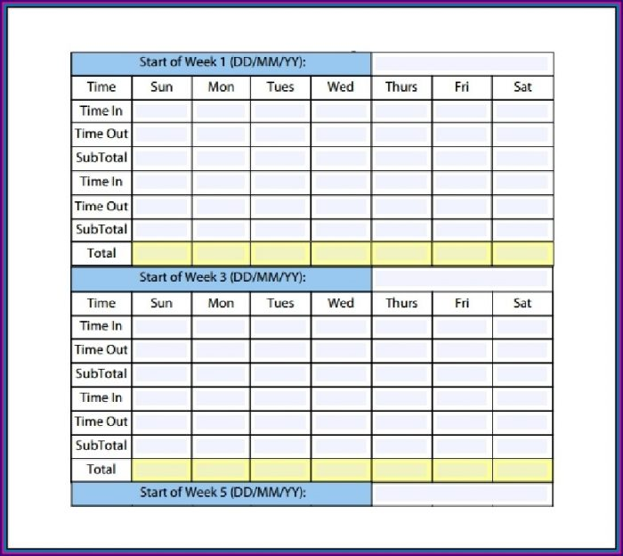 Free Monthly Timesheet Template