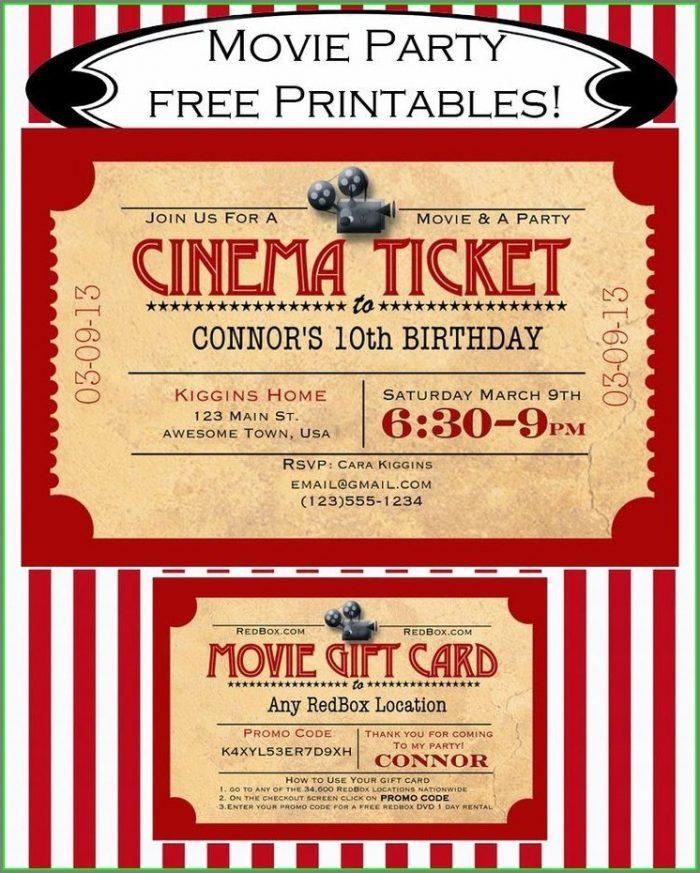 Free Movie Ticket Invitation Template