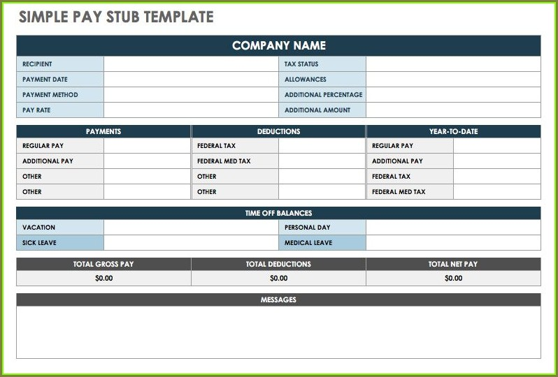 Free Pay Stub Template Excel